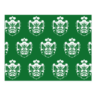 Verde blanco del escudo de la familia postal