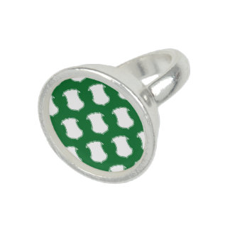 Verde blanco del escudo del escudo anillo con foto