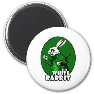 Verde blanco del logotipo del conejo imán para frigorífico