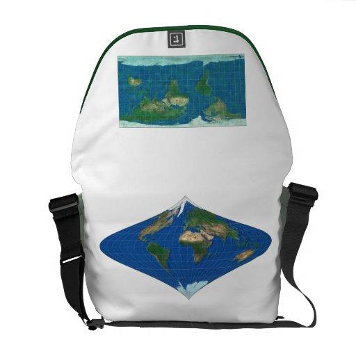 Verde blanco del mapa del mundo 1 del bolso de bolsa de mensajeria