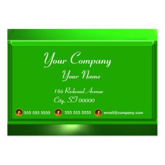 Verde blanco del monograma de la ESMERALDA de las Tarjetas De Visita Grandes