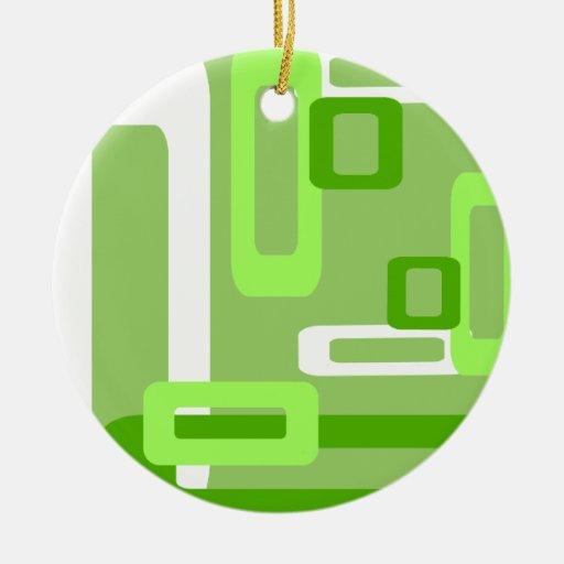 Verde/blanco estilizados de los rectángulos ornamento para arbol de navidad