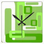 Verde/blanco estilizados de los rectángulos reloj de pared