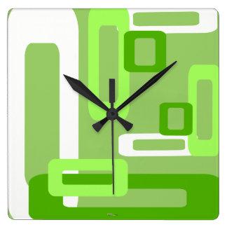 Verde/blanco estilizados de los rectángulos reloj cuadrado