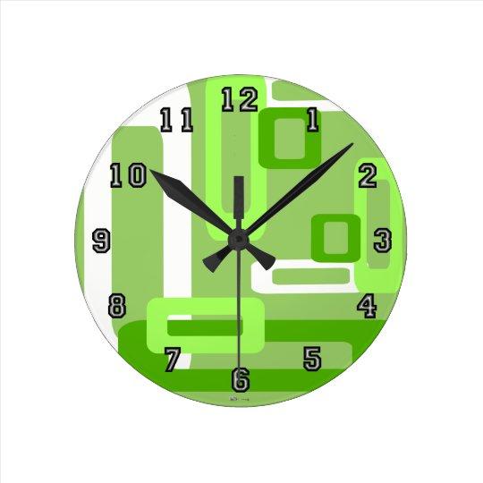 Verde/blanco estilizados de los rectángulos reloj redondo mediano