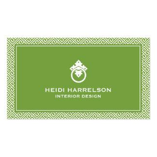 Verde/blanco griegos clásicos del golpeador de tarjetas de visita