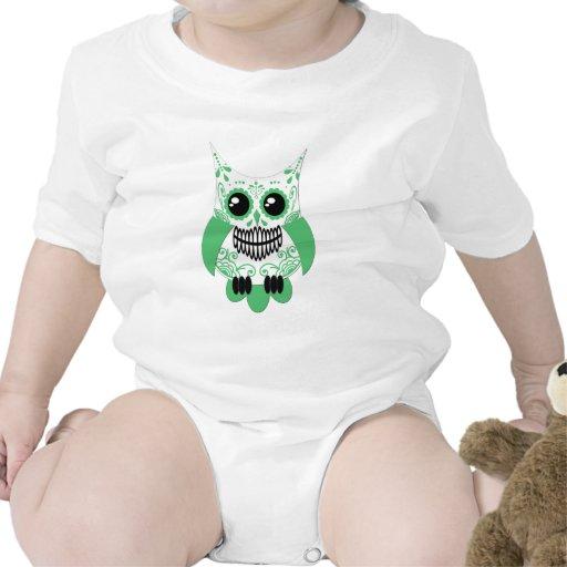 Verde blanco Owl.png del cráneo del azúcar Trajes De Bebé