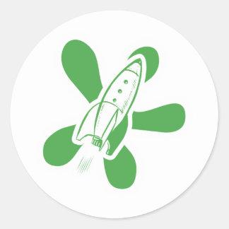 Verde blanco retro de Splat Rocket Pegatinas Redondas