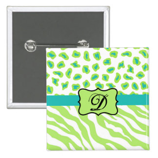 Verde, blanco y cebra y guepardo del trullo pin cuadrada 5 cm