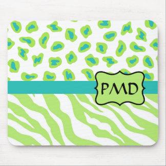 Verde, blanco y cebra y guepardo del trullo mouse pad