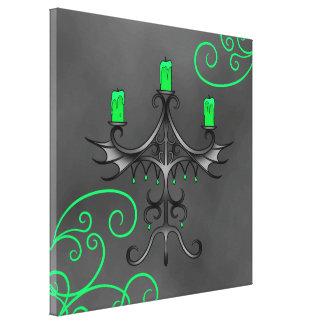 Verde bonito y gris de Halloween de los candelabro Impresiones En Lona