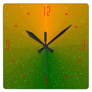 Verde bonito y reloj de pared >Patterned oro