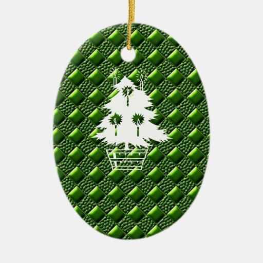 Verde brillante adorno navideño ovalado de cerámica