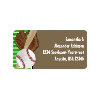Verde Brown del béisbol Etiqueta De Dirección