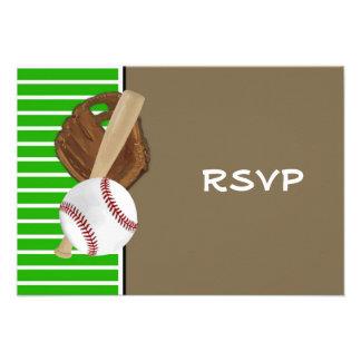Verde Brown del béisbol Invitaciones Personales