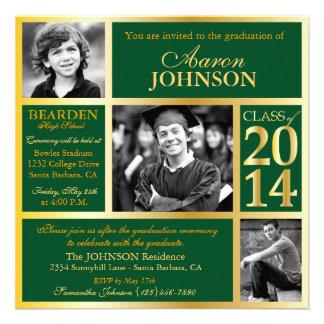 Verde caqui 2014 y oro del comienzo de la graduaci invitación personalizada
