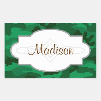 Verde caqui Camo camuflaje Etiquetas