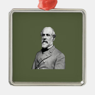 Verde caqui de general Roberto E. Lee Adorno Cuadrado Plateado