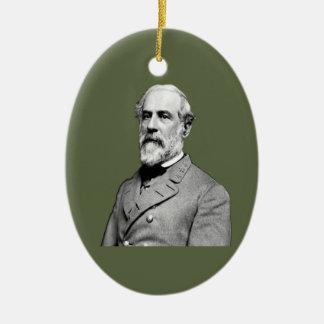 Verde caqui de general Roberto E. Lee Adorno Ovalado De Cerámica