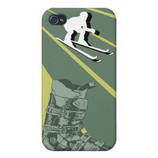 Verde caqui de la bota de esquiar del caso del iPh iPhone 4 Fundas