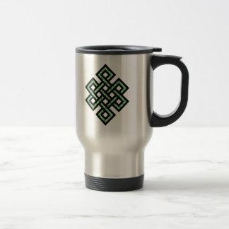 Verde céltico del nudo 10 taza de viaje