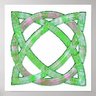 Verde céltico del nudo 8 póster