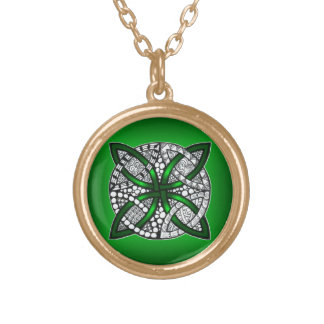 Verde céltico del nudo del arte original colgante redondo