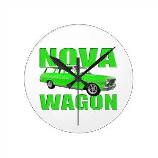 verde chevy del neón del longroof del carro de la  reloj redondo mediano