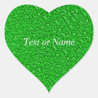 verde chispeante del neón del brillo pegatina en forma de corazón