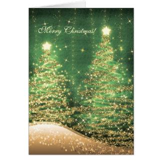 Verde chispeante elegante de los árboles de las tarjeta de felicitación