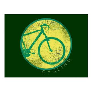verde circular de la bicicleta tarjetas postales