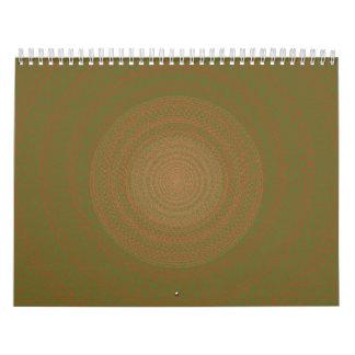 Verde circular del modelo pardusco calendario de pared
