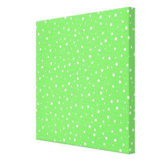 Verde claro con el modelo de puntos blanco lona envuelta para galerias
