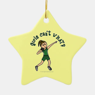 Verde claro lanzamiento de peso adorno navideño de cerámica en forma de estrella