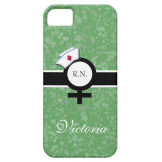 Verde claro+Muestra femenina+Casquillo nombre de l iPhone 5 Case-Mate Protectores