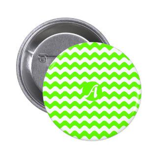 Verde claro y blanco agita el monograma chapa redonda 5 cm
