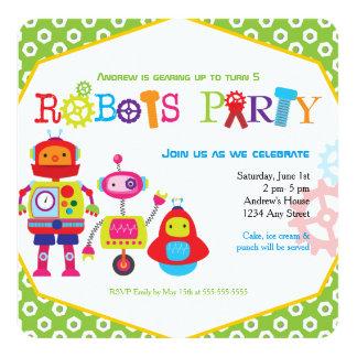 """Verde colorido de los robots de la fiesta de invitación 5.25"""" x 5.25"""""""