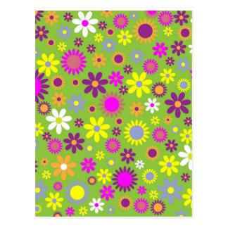 Verde colorido de Scrapbooking del estampado de fl Tarjetas Postales