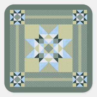 Verde complejo y azul del remiendo de la estrella pegatina cuadrada