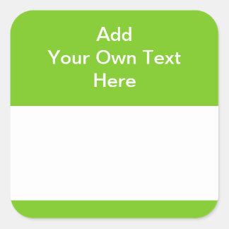 Verde con el área y el texto blancos pegatina cuadrada