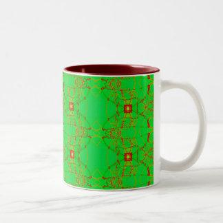verde con el cordón rojo tazas