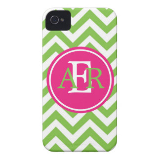 Verde con el monograma de la envidia Case-Mate iPhone 4 protectores