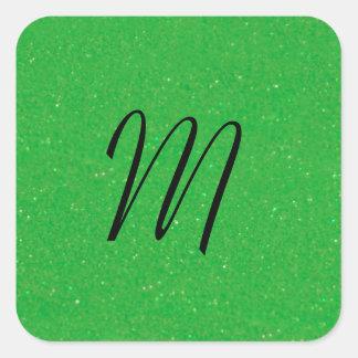 Verde con el monograma de la envidia pegatina cuadrada