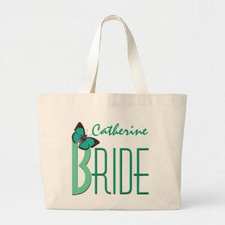Verde con la novia personalizada mariposa bolsa tela grande