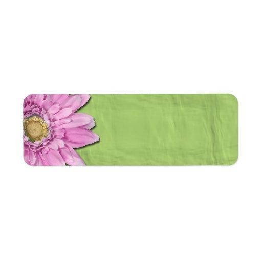 Verde con las etiquetas rosadas del espacio en bla etiqueta de remite