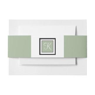 Verde con monograma del laurel cintas para invitaciones