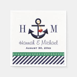 Verde con monograma y boda náutico del ancla de la servilleta de papel
