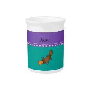 Verde conocido personalizado del platypus jarra de beber