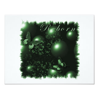 """Verde cristiano del arte de las mariposas invitación 4.25"""" x 5.5"""""""