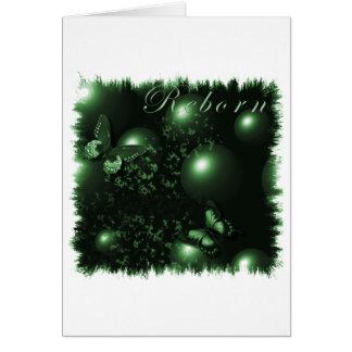 Verde cristiano del arte de las mariposas renacida tarjeta de felicitación